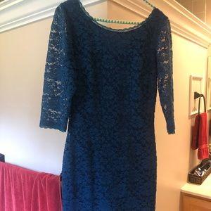 Teal semi-formal lace dress